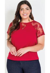 Blusa Plus Size Vermelha Com Mangas Em Renda