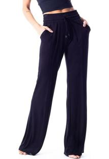 Calça Pantalona Em Lycra®- Preta- Vestemvestem