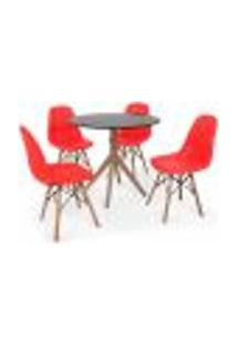 Conjunto Mesa De Jantar Maitê 80Cm Preta Com 4 Cadeiras Charles Eames Botonê - Vermelha
