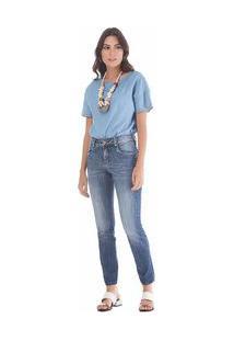 Calça Maria.Valentina Skinny M. Julia Cós Intermediário Pesponto Color Jeans