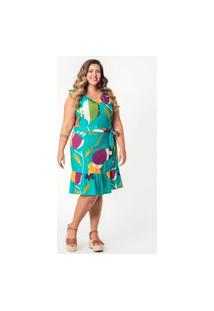 Vestido Estampado Plus Size Floral Crochê Azul Turquesa