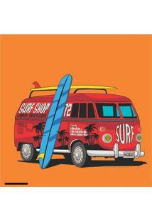 Placa Decorativa Combi Surf Hawaii 25X25 Cm Preto