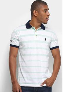 Camisa Polo Aleatory Fio Tinto Listras Masculina - Masculino-Verde+Branco