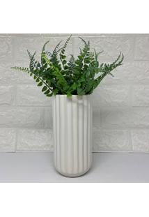 Vaso Alto Design Moderno Branco Com Planta