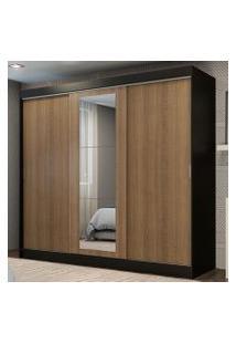 Guarda-Roupa Casal Madesa Kansas 3 Portas De Correr Com Espelho 3 Gavetas Preto/Rustic Cor:Preto/Rustic