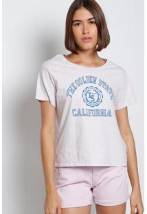 "Camiseta ""Califórnia"" - Lilás & Azullevis"