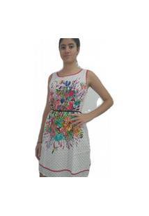 Vestido Bon Arabescos Com Amarração Branco & Vermelho