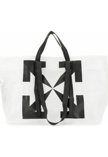 Off-White Bolsa Tote Com Estampa De Logo Off White - Branco