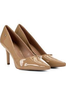 Scarpin Shoestock Salto Médio Naked - Feminino-Amendoa