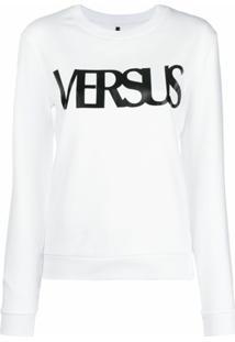 Versus Blusa De Moletom Com Logo - Branco