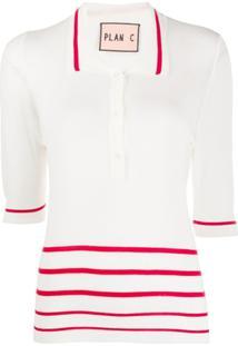Plan C Striped Polo Shirt - Branco