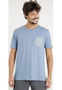 Camiseta Masculina Com Bolso Listrado Manga Curta Gola Careca Azul