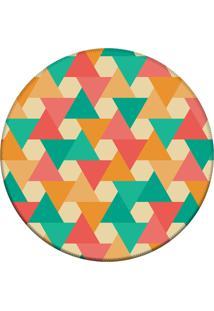 Tapete Love Decor Redondo Wevans Triângulos Multicolorido 84Cm