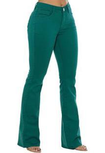 6c5865104 ... Calça Jeans Denuncia Mid Rise Flare Feminino - Feminino-Verde