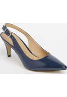 Sapato Chanel Com Fivela & Ajuste - Azul Marinho - Sluiza Barcelos