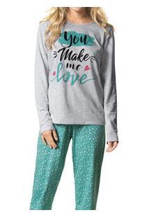 Pijama Longo Mescla Com Silk Feminino Malwee (1000037345) Algodão
