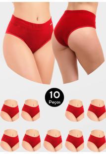 Kit 10 Calcinha Cós Alto Cintura Alta Em Algodão Cotton Silvana Vermelho