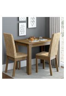 Conjunto Sala De Jantar Madesa Josi Mesa Tampo De Madeira Com 2 Cadeiras Marrom