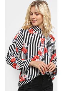Camisa Listrada Sofia Fashion Floral Feminina - Feminino-Preto+Branco