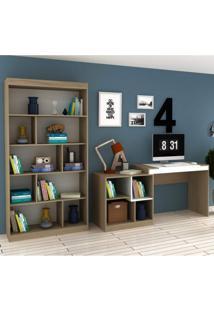 Conjunto Home Office Com Escrivaninha Multifuncional E Estante Para Livro Móveis Avelã Tx/Branco Tx