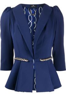 Elisabetta Franchi Blazer Com Corrente E Cinto - Azul