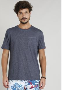 Camiseta Masculina Mescla Com Bolso Manga Curta Gola Careca Azul Marinho