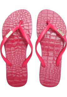 Chinelo Santa Lolla Flip Flop Croco Rosa