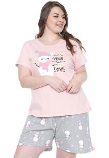 Pijama Pzama Estampado Rosa/Cinza