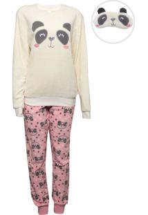 Pijama Malwee Liberta Panda Off-White/Rosa