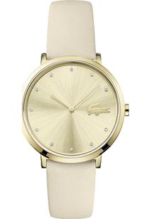 25cf413bf92 Relógio Feminino Branco Ouro Branco Couro Lacoste 2001030 -
