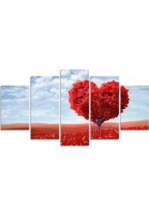 Quadro Decorativo Para Sala Casa Arvore Coraã§Ã£O Vermelho - Multicolorido - Dafiti