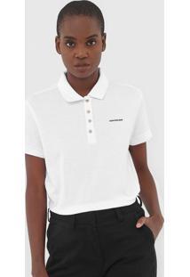 Camisa Polo Calvin Klein Jeans Reta Logo Branca - Kanui