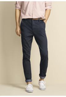 Calça Masculina Slim Em Sarja Com Elastano