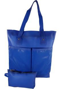Bolsa Bag Dreams De Praia Impermeável Com Bolsos Azul Bic - Kanui