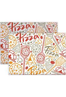 Kit 2Pçs Jogo Americano Mdecor Pizza 40X28Cm Bege