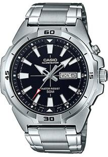 Relógio Casio Collection Analógico Mtp-E203D Feminino - Feminino-Preto+Prata