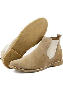 Bota Chelsea Camurça Escrete Boots Fechamento Em Elástico Masculina - Masculino-Bege