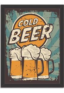 Quadro Decorativo Retrô Cold Beer Preto - Grande