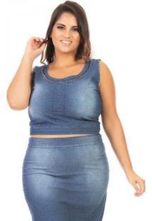 Cropped Jeans Regata Com Pedraria Plus Size Confidencial Extra Feminina - Feminino-Azul