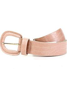 Cinto Couro Shoestock Croco Médio Feminino - Feminino-Nude