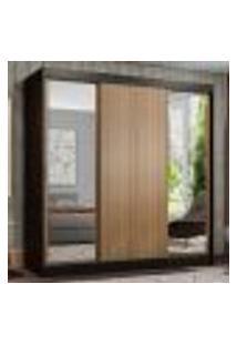 Guarda-Roupa Casal Madesa Reno 3 Portas De Correr Com Espelhos - Preto/Rustic