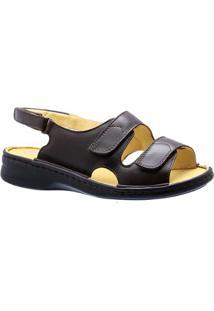 Sandália Doctor Shoes Couro Feminina - Feminino-Café