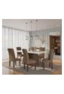 Conjunto De Mesa De Jantar Alice I Com Vidro E 6 Cadeiras Grécia Veludo Chocolate E Off White