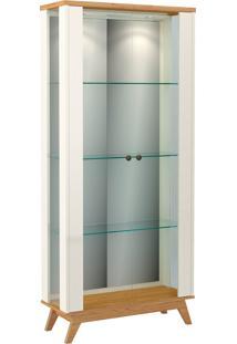 Cristaleira Retrô Espelhada C/ 2 Portas Vidro E Led Off-White Dalla Costa