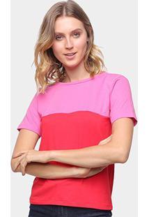 Camiseta Volare Básica Bicolor Feminina - Feminino-Rosa