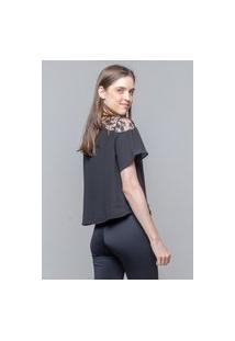 Blusa 101 Resort Wear Ombro A Ombro Renda Preta
