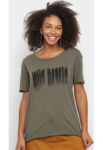 Camiseta Ellus Wild Hecrts Básica Feminina - Feminino-Verde Militar