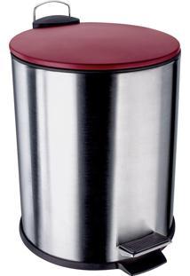 Lixeira Euro Home Aço Inox 5 Litros Com Pedal Vermelha