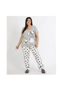 Pijama Feminino Plus Size 101 Dálmatas Estampado De Poá Manga Curta Cinza Mescla