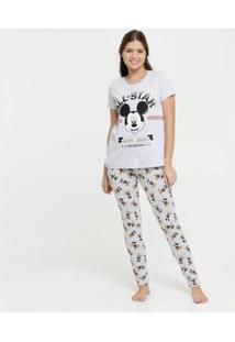 Pijama Estampa Mickey Manga Curta Disney Feminino - Feminino-Cinza